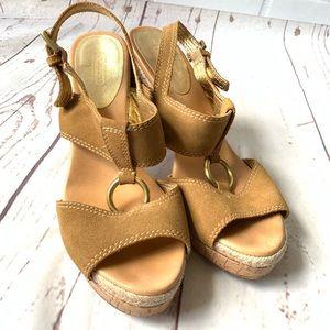 Coach Valeann Suede Platform Cork Heel Sandals 9